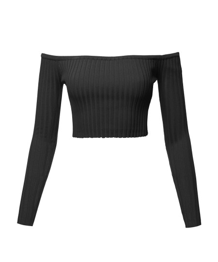 Women's Casual Sexy Cute Long Sleeve Off Shoulder Rib Crop Top