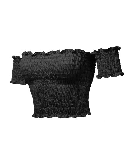 Women's Sexy Off Shoulder Shirring Smocking Crop Top