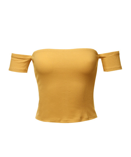 Women's Sexy Off Shoulder Ribbed Crop Top