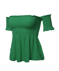 Women's Solid Off The Shoulder Flounce Top