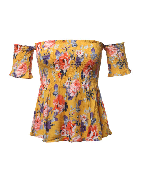 Women's Floral Print Off The Shoulder Flounce Top