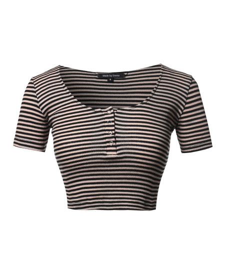 Women's Scoop Neck Button Placket Short Sleeves Stripe Ribbed Crop Top