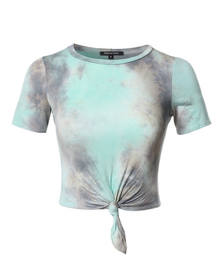 Women's Casual Tie Dye Tie Front Crop Top - Made in USA
