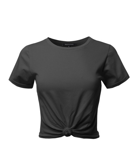 Women's Causal Solid Loose Roll Up Short Sleeve Knot Front Crop Top Tee T-Shirt