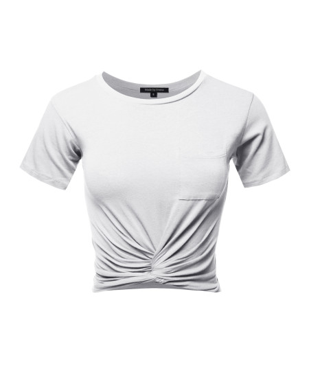 Women's Causal Solid Loose Short Sleeve Front Pocket Knot Front Crop Top Tee T-Shirt