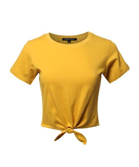 Women's Causal Solid Loose Short Sleeve Self Tie Knot Front Crop Top Tee T-Shirt