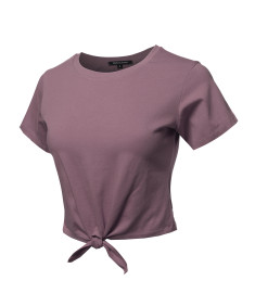 Women's Causal Solid Loose Short Sleeve Self Tie Knot Front Crop Top Tee T-Shirt