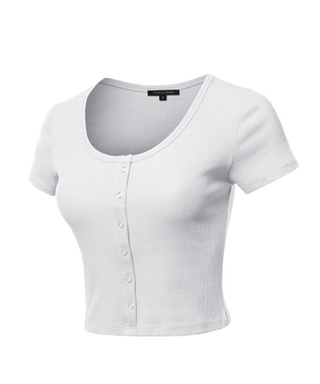 Women's Scoop Neck Button Placket Short Sleeves Ribbed Crop Top