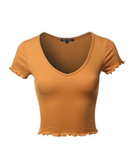 Women's Basic Solid V neck Merrow Edge Crop Tank Top