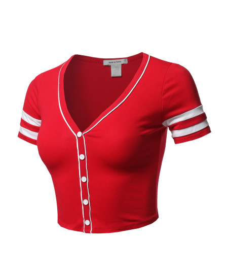 Women's Short Sleeve V neck Baseball Varsity Stripe Crop Top Tee