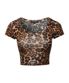 Women's Print Short Sleeve Round-Neck Crop Top