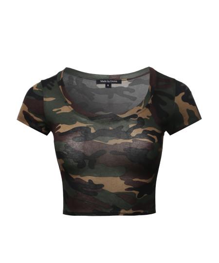 Women's Print Short Sleeve Round-Neck Crop Top