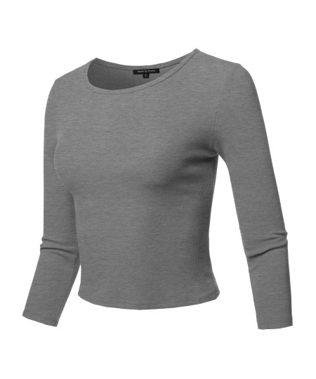 Women's Casual Sexy Cute Solid 3/4 sleeve Rib Cotton Spandex Knit Crop Top