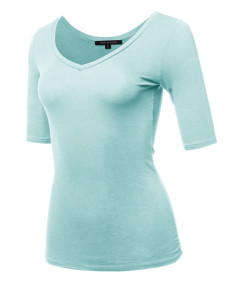 Women's Casual Comfortable Soft Stretch Solid 3/4 sleeve V-Neck Top