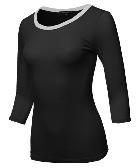 Women's Casual Comfortable Soft Stretch Contrast Binding 3/4 sleeve Crew Neck Top