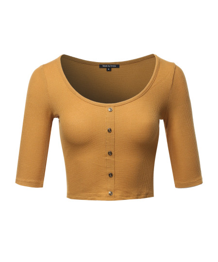 Women's Casual Ribbed 3/4 Sleeve Crop Button Top