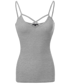 Women's Caged Front Spaghetti Strap Soft Stretchy Ribbed Knit Tank Top