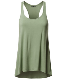 Women's Basic Solid Relaxed Fit Racer-back Tank Top