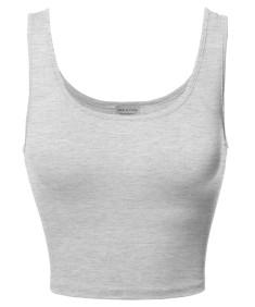 Women's Junior Sized Basic Solid Sleeveless Crop Tank Top