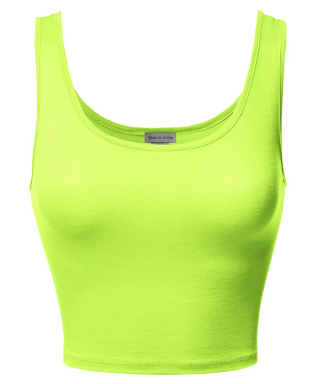 Women's Junior Sized Basic Solid Sleeveless Crop Tank Top