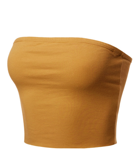 Women's Fitted Solid Cotton Based Strapless Double Layered Crop Tube Top