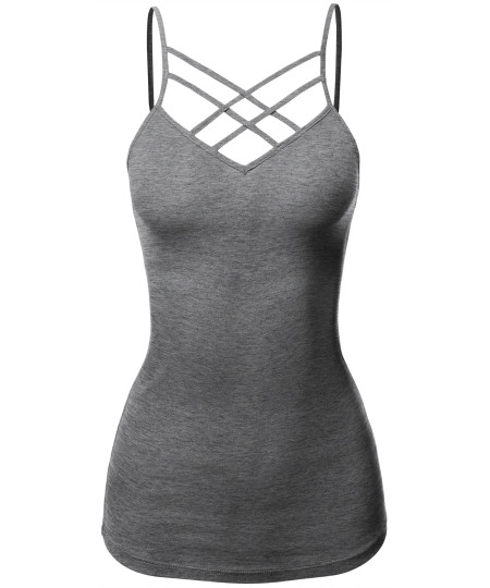 Women's Casual Sexy Sleeveless V-Neck with Double Cross Strap Cami Top