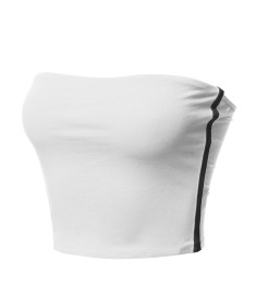 Women's Causal Cute Sexy Double Layering Side Contrast Panel Elastic Band Tube Top