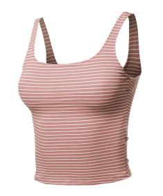 Women's Casual Sexy Cute Stripe Sleeveless Crop Tank Top