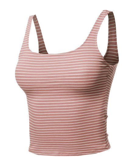 Women's Casual Sexy Cute Stripe Sleeveless Crop Tank Top