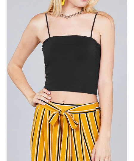Women's Causal Cute Sexy Solid Straight Neck Double Layer Cami Crop Top