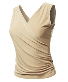 Women's Casual V Neck Cross Front Sexy Ruched Tank Top