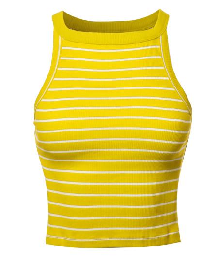 Women's Stripe Sleeveless High Neck Ribbed Crop Tank Top
