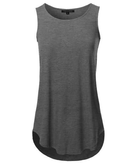 Women's Solid Sleeveless Round Neck Round Hem Tank Top