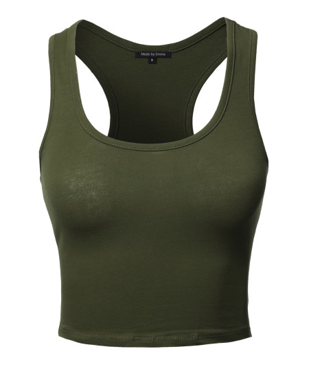Women's Junior Basic Solid Sleeveless Crop Tank Top