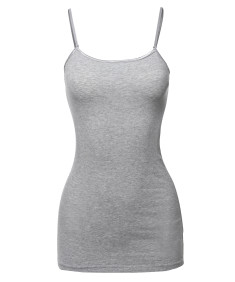 Women's Basic Solid Long Length Adjustable Spaghetti Strap Tank Top