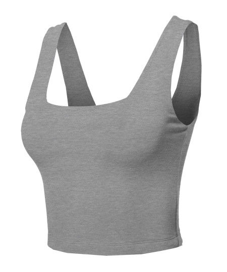 Women's Junior Basic Seamless Square Neck Sleeveless Crop Tank Top