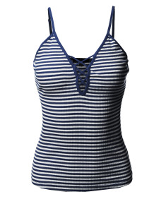 Women's Stripe V Neck Lace Up Criss Cross Casual Cami Tank Top