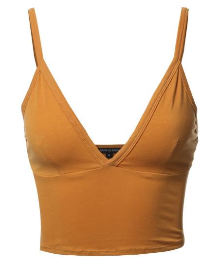Women's Basic Deep V-neck Bralette Tank Top