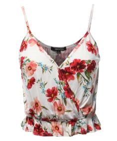 Women's Causal Cute Floral Surplice Ruffled Hem Cami Top