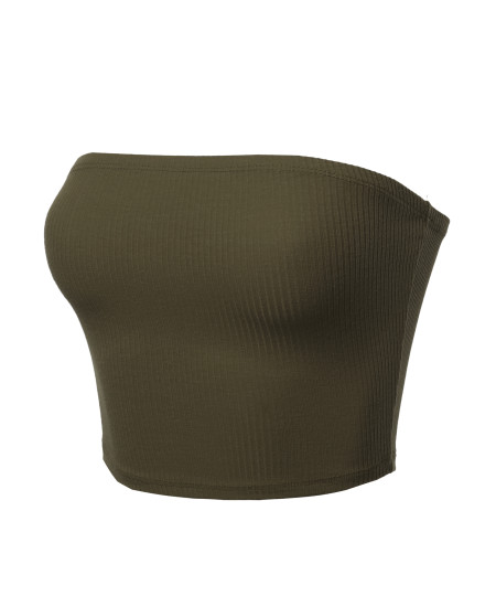 Women's Solid Bra Ribbed Tube Top