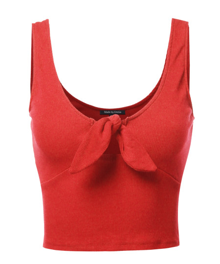 Women's Solid Open Neck Front Knot Crop Top