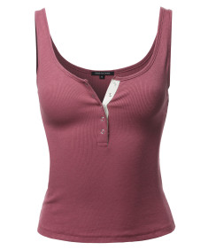 Women's Sold Round Neck Button Front Tank Top