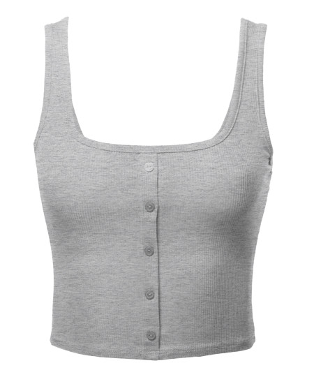Women's Solid Button Up Crop Top
