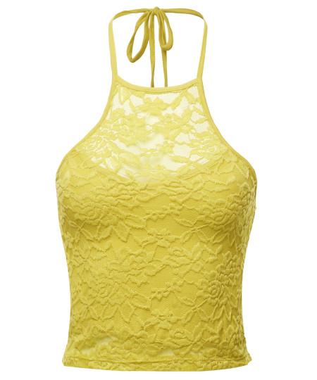 Women's Trendy Halter Neck Crochet Crop Top