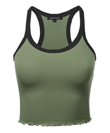 Women's Solid  Casual Tank Crop Top