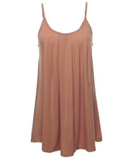 Women's Solid Front Shirring Cami Jersey Top