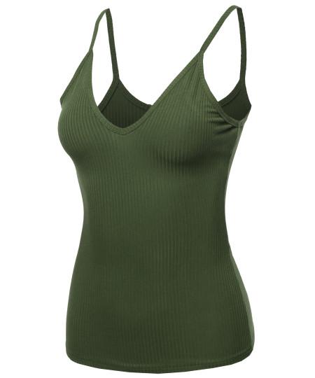 Women's Basic V neck Ribbed Cami Tank Top