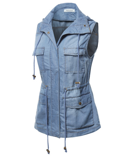 Women's Casual Denim Sleeveless  Military Safari Utility Drawstring Hoodie Vest