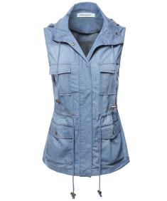 Women's Casual Denim Sleeveless  Military Safari Utility Drawstring Hoodie Vest