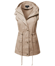 Women's CasualZipper With Snap Button Closure Military Drawstring Hoodie Vest